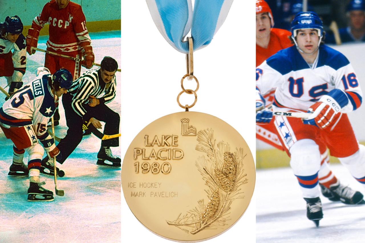 Mark Wells (trái) và Mark Pavelich từng thuộc đội tuyển từng vô địch Olympic ở Lake Placid, New York. Ảnh: Alamy.