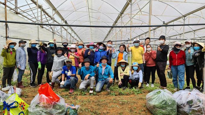 Thầy cô giáo cùng các tình nguyện viên ở Đà Lạt trong một buổi thu hoạch rau để hỗ trợ người dân Sài Gòn. Ảnh: NVCC.