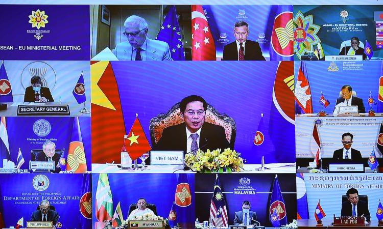 Hội nghị trực tuyến Bộ trưởng Ngoại giao ASEAN - EU hôm 6/8. Ảnh: Thế giới và Việt Nam.