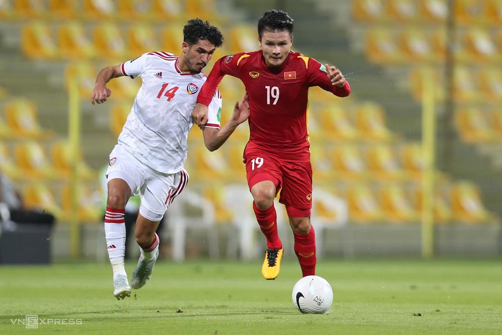 """เวียดนามเคยถูกโดดเดี่ยวในสหรัฐอาหรับเอมิเรตส์เมื่อสิ้นสุดกลุ่ม G ในรอบคัดเลือกรอบที่สองของฟุตบอลโลก 2022 - ภูมิภาคเอเชีย  ภาพถ่าย: """"Lam Thua ."""""""