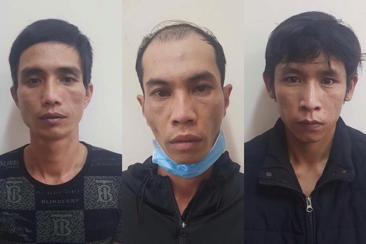 Giảng, Hải, Luân (từ trái sang) lúc bị bắt. Ảnh: Ngọc Oanh