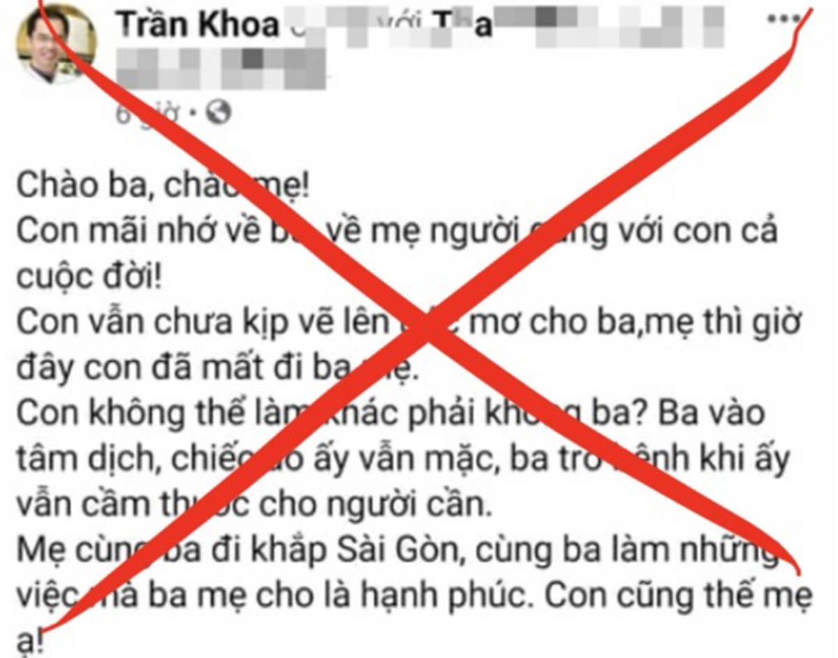 Thông tin được đăng tải trên tài khoản Facebook Trần Khoa. Ảnh chụp màn hình.