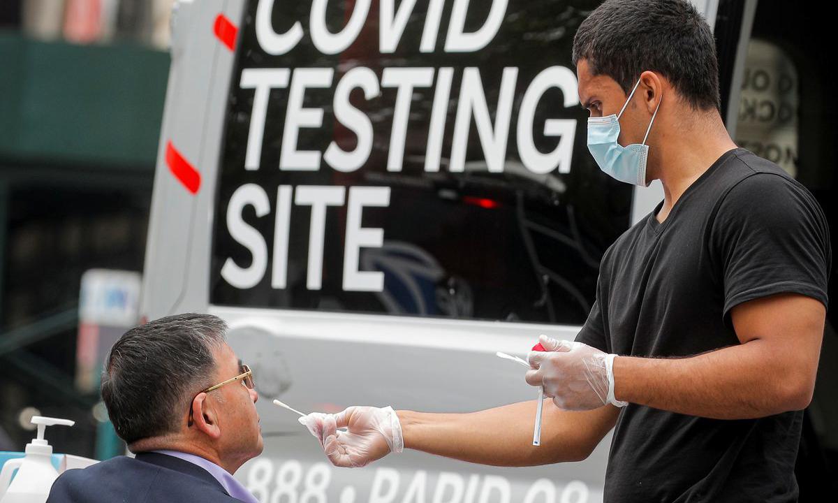 Một điểm xét nghiệm Covid-19 tại Brooklyn, New York, Mỹ hôm 2/6. Ảnh: Reuters.