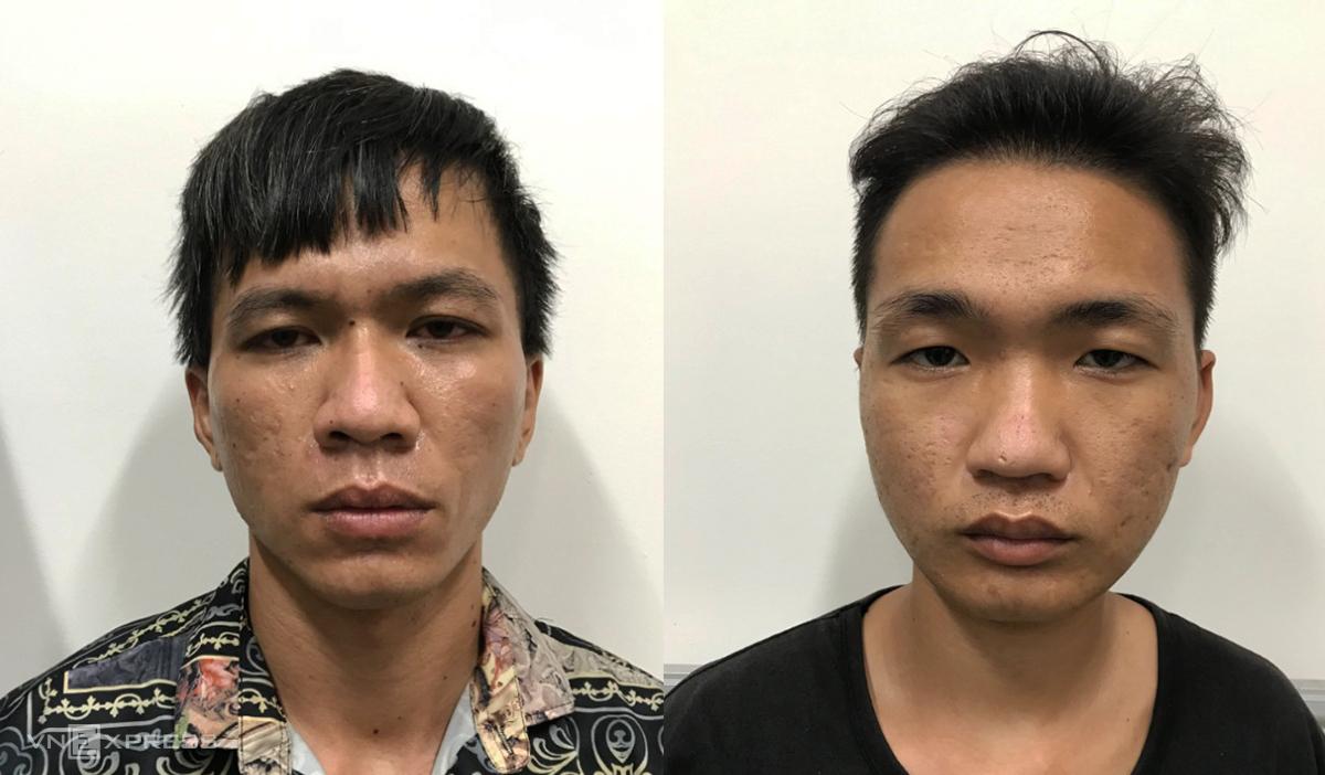 Phi (trái) và Chiến tại Công an thị xã Phú Mỹ. Ảnh: Quang Bình.