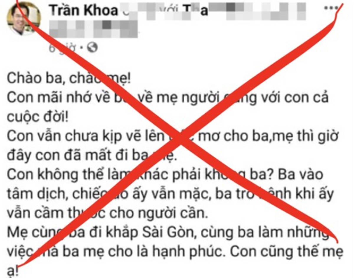 Thông tin được đăng tải trên tài khoản Facebook Trần Khoa, đêm 7/8. Ảnh: Chụp màn hình.