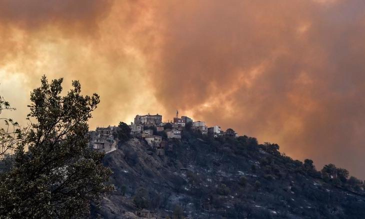 Khói từ cháy rừng bốc lên đỉnh đổi khu vực Kabylie hôm 10/8. Ảnh: AFP.