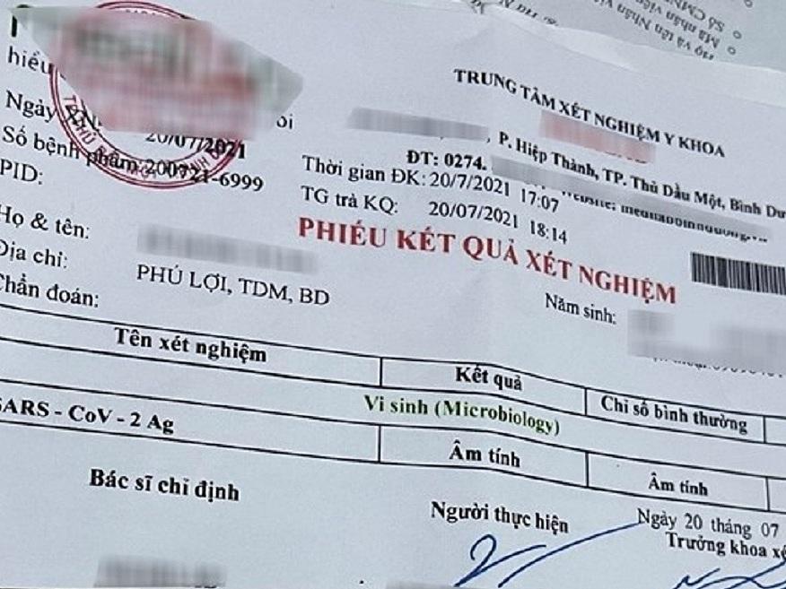 Giấy xét nghiệm giả bị phát hiện tại Bình Dương hồi tháng 7. Ảnh: Công an cung cấp.