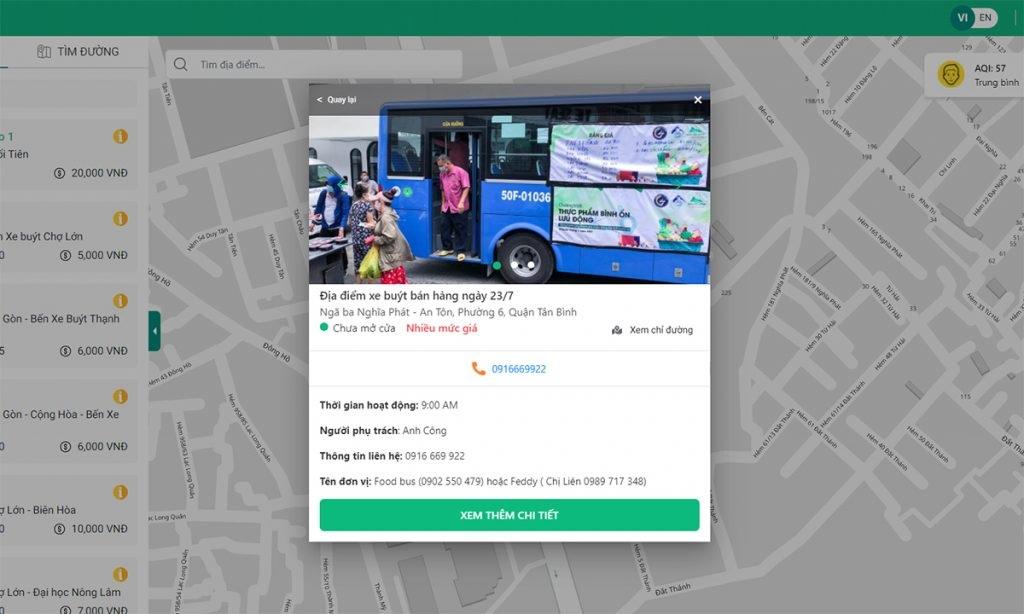Ứng dụng Busmap với chức năng tìm kiếm xe thực phẩm theo vị trí người dùng hỗ trợ người dân mua sắm. Ảnh chụp màn hình.