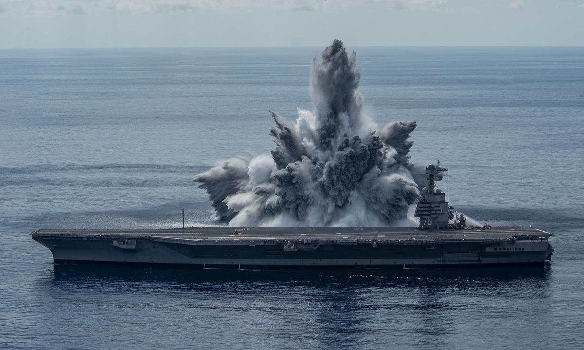 USS Gerald R. Ford trong cuộc thử nghiệm FSST hôm 8/8. Ảnh: US Navy.