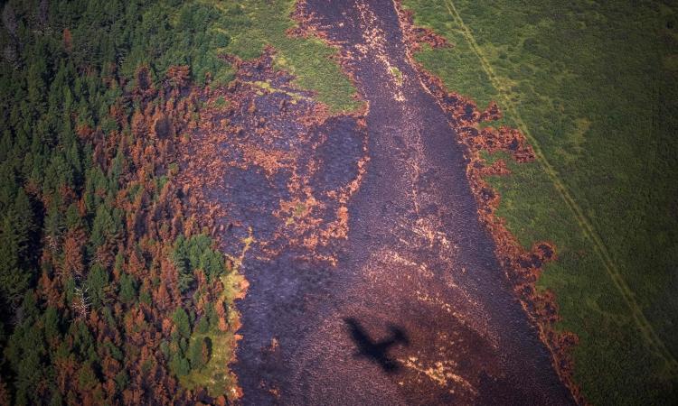 Máy bay của cơ quan kiểm lâm bay qua khu rừng bị thiêu rụi ở vùng Sakha, Siberia, Nga, hôm 27/7. Ảnh: AFP.