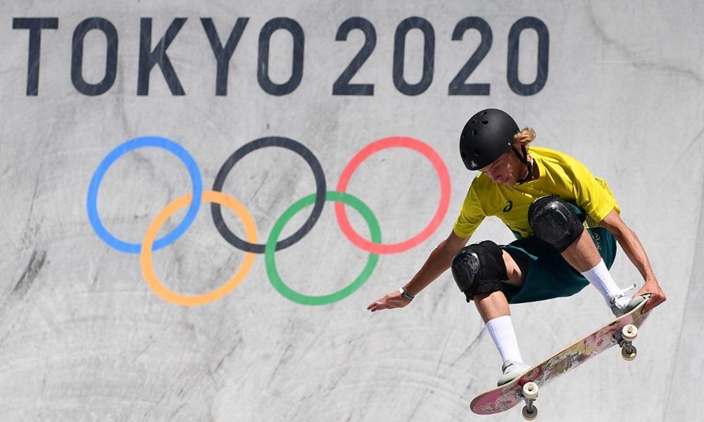 Vận động viên trượt ván Australia Keegan Palmer, người giành huy chương vàng, trong phần thi tại Olympic Tokyo 2020 hôm 5/8. Ảnh: AFP.