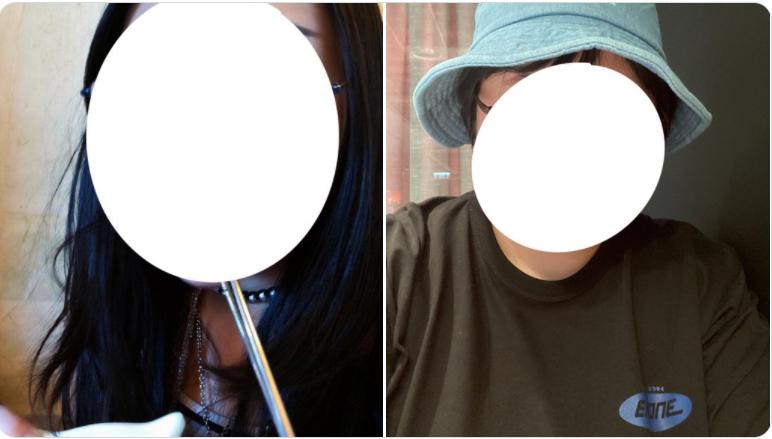 Một cô gái Hàn Quốc đăng ảnh trước và sau khi cắt tóc. Ảnh: Twitter/eat_rocks_