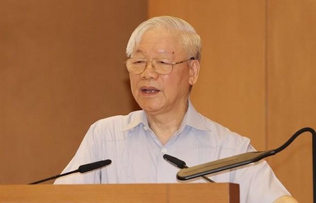 Tổng bí thư Nguyễn Phú Trọng phát biểu tại phiên họp đầu tiên của Chính phủ khóa XV. Ảnh: TTX