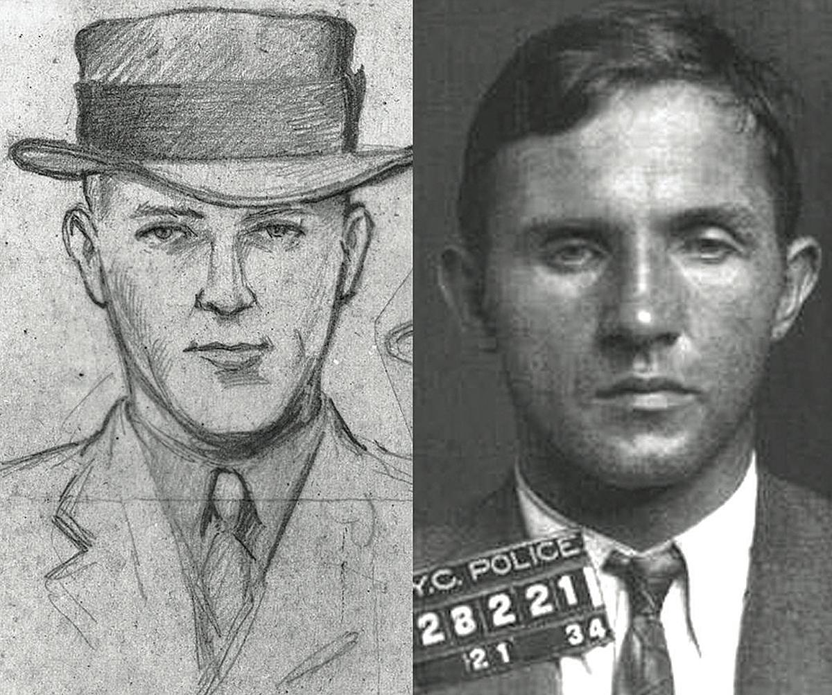 Một bản phác thảo nghi phạm (trái) được vẽ từ mô tả bằng của ông Condon và ảnh chụp thủ phạm Bruno Richard Hauptmann. Ảnh: FBI