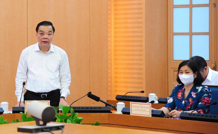 Chủ tịch Hà Nội Chu Ngọc Anh phát biểu tại cuộc làm việc. Ảnh: Viết Thành
