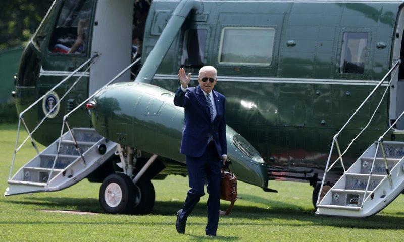 Tổng thống Mỹ Joe Biden tại Nhà Trắng sau khi trở về từ Wilmington, bang Delaware, hôm 10/8. Ảnh: AFP.