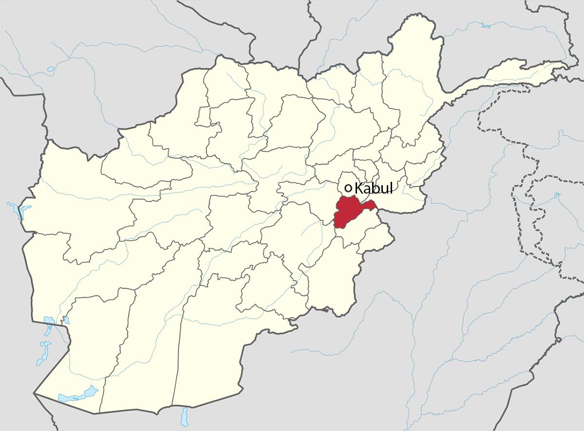 Vị trí tỉnh Logar (màu đỏ) và thủ đô Kabul của Afghanistan. Đồ họa: Wikimedia.