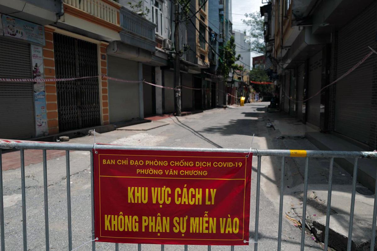 Một điểm cách ly y tế tại phường Văn Chương, Đống Đa. Ảnh: Ngọc Thành.