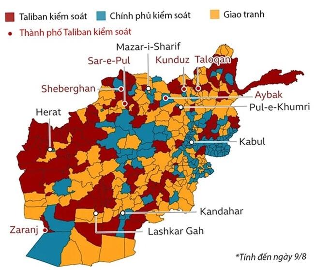 Biến đổi quyền kiểm soát lãnh thổ Afghanistan trong 4 năm qua. Bấm vào ảnh để xem chi tiết.
