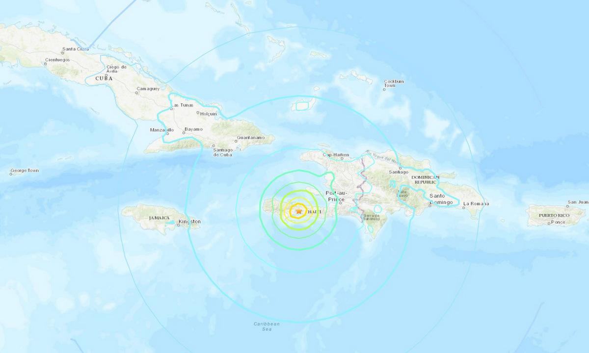 Vị trí tâm chấn trong trận động đất ở Haiti ngày 14/8. Đồ họa: USGS.
