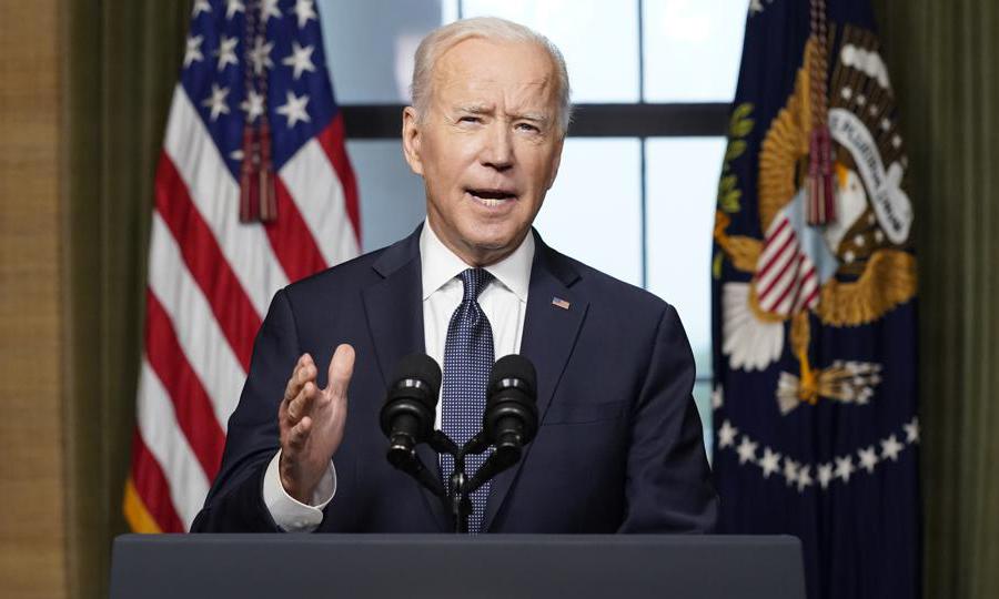 Tổng thống Mỹ Joe Biden phát biểu tại Nhà Trắng hôm 14/4, khi tuyên bố rút toàn bộ lính Mỹ khỏi Afghanistan. Ảnh: AP.