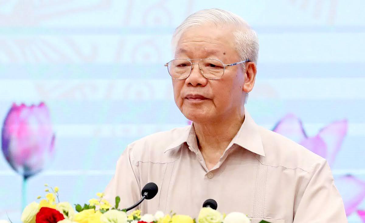 Tổng Bí thư Nguyễn Phú Trọng phát biểu tại Hội nghị của Mặt trận Tổ quốc và các tổ chức thành viên, sáng 16/8. Ảnh: Hoàng Phong