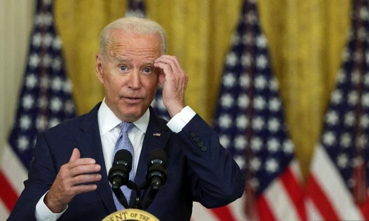 Tổng thống Mỹ Joe Biden phát biểu tại cuộc họp báo ở Nhà Trắng hôm 12/8. Ảnh: AFP.