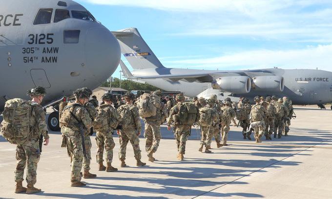 Lực lượng phản ứng nhanh lục quân Mỹ trước một chuyến triển khai hồi tháng 1/2020. Ảnh: US Army.