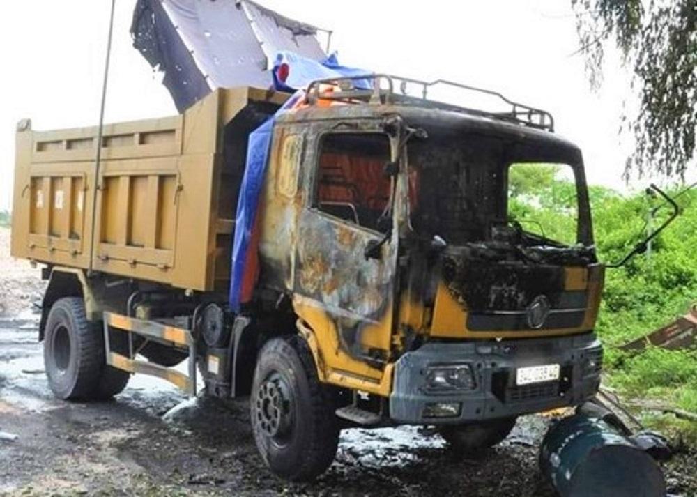 Chiếc xe bị đốt trong vụ án. Ảnh: Công an Hải Dương