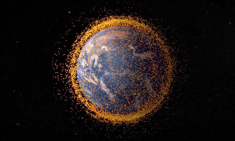 Minh họa rác vũ trụ xung quanh Trái Đất theo dữ liệu của Văn phòng Chương trình Mảnh vỡ trên Quỹ đạo của NASA. Ảnh: Trung tâm Bay Vũ trụ Goddard thuộc NASA