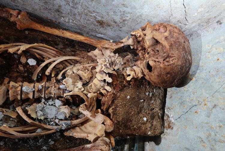 Hài cốt Marcus Venerius Secundio vẫn nhìn rõ mái tóc cắt ngắn và một bên tai sau gần 2.000 năm.  Ảnh: Công viên Khảo cổ Pompeii/Đại học Valencia