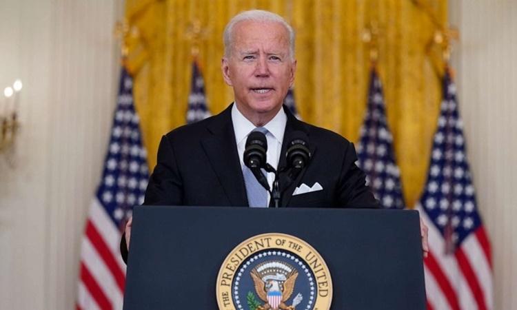 Tổng thống Mỹ Joe Biden phát biểu về tình hình Afghanistan tại Nhà Trắng hôm 16/8. Ảnh: AP.