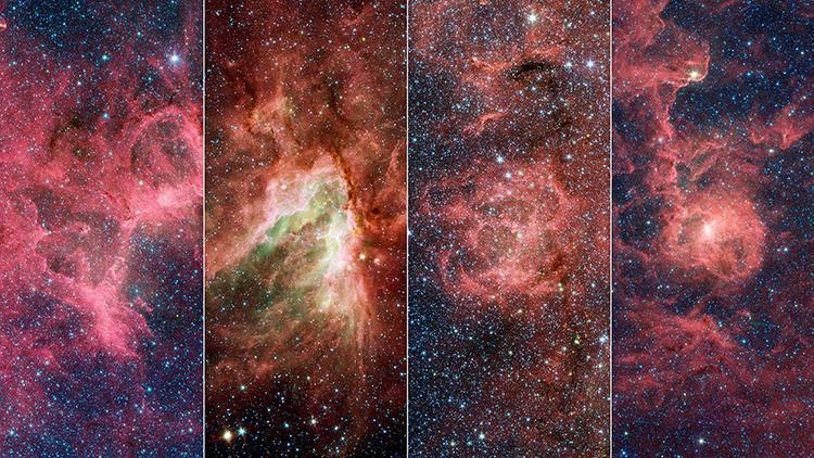 Tinh vân Đại bàng, Thiên Nga, Chẻ Ba và Lagoon (từ trái qua phải). Ảnh: NASA/JPL-Caltech