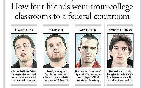 Bốn nam sinh xuất hiện trên nhật báo Kentucky sau khi bị bắt. Ảnh: Kentucky.com