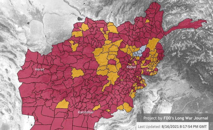 Các vùng Taliban đã chiếm (đỏ) hoặc tuyên bố chiếm (vàng), cùng khu vực do chính phủ Afghanistan kiểm soát (xám) tính đến ngày 16/8. Đồ họa: Long War Journal.