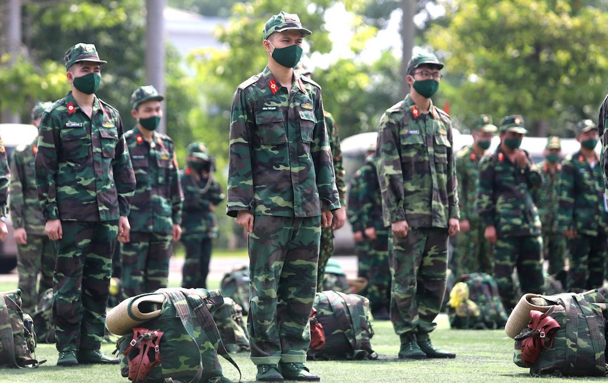 Học viên Học viện Quân y tại lễ xuất quân lên đường vào Bình Dương chống dịch Covid-19, hôm 6/8. Ảnh: Hoàng Thùy