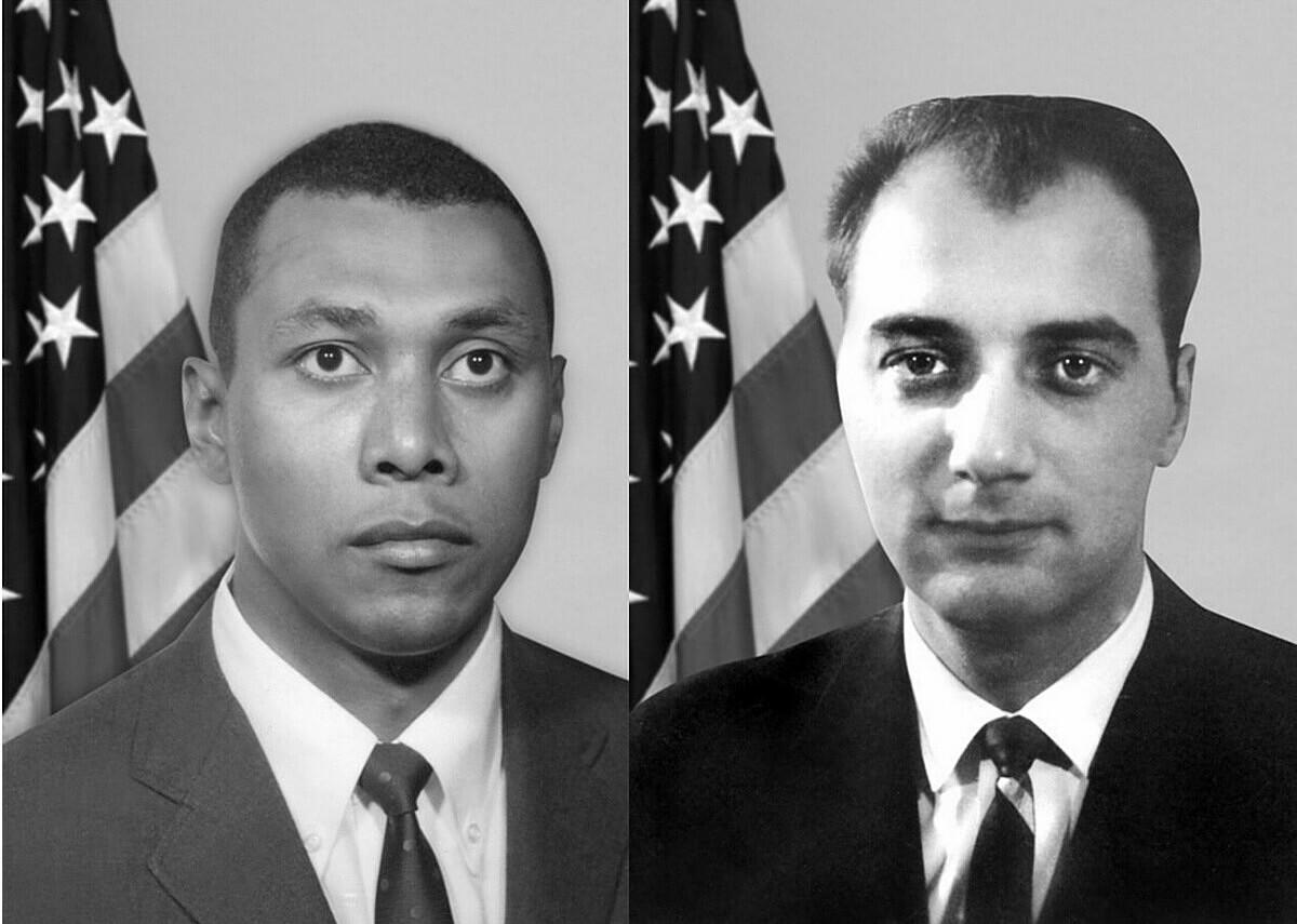 Edwin R. Woodriffe (trái) và Anthony Palmisano, hai sĩ quan bị Bryant sát hại, trong đó, Woodriffe là đặc vụ FBI da màu đầu tiên chết trong khi thi hành nhiệm vụ. Ảnh: FBI