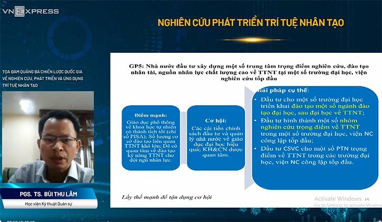 PGS.TS Bùi Thu Lâm chia sẻ về xu thế nghiên cứu phát triển AI trên thế giới.