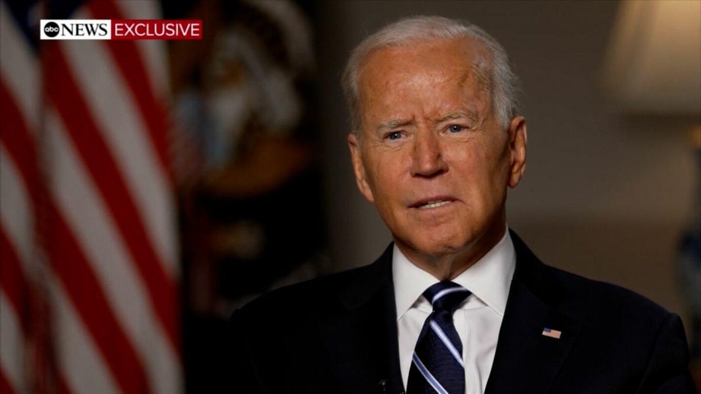 Tổng thống Mỹ Joe Biden trả lời ABC News về tình hình Afghanistan, được phát sóng ngày 19/8. Ảnh chụp màn hình.