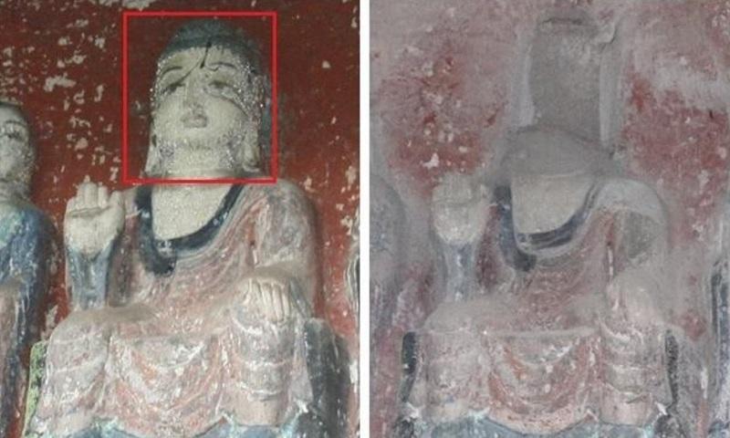 Một bức tượng Phật trên núi Fozi, tỉnh Tứ Xuyên, Trung Quốc trước và sau khi bị đánh cắp hồi tháng 1. Ảnh: Baidu.