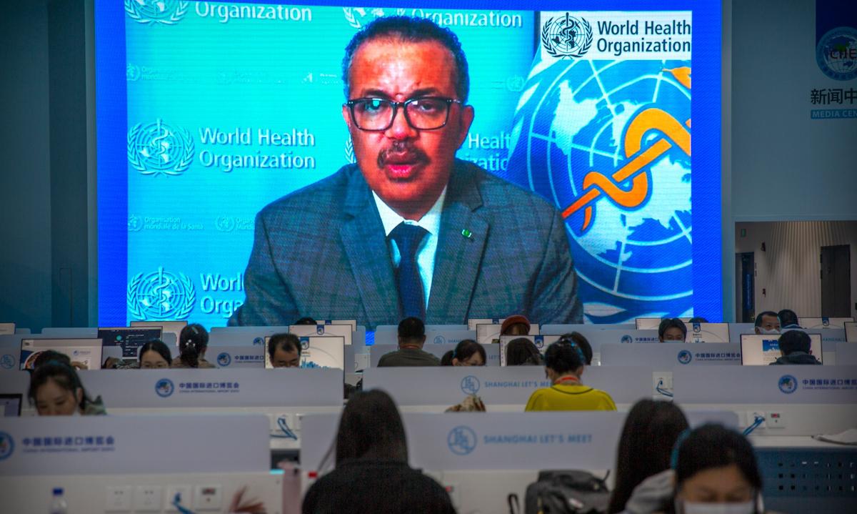 Tổng giám đốc WHO Tedros Adhanom Ghebreyesus trong bài phát biểu được ghi hình sẵn gửi tới Hội chợ Nhập khẩu Quốc tế Trung Quốc tại Thượng Hải ngày 4/11/2020. Ảnh: AP.