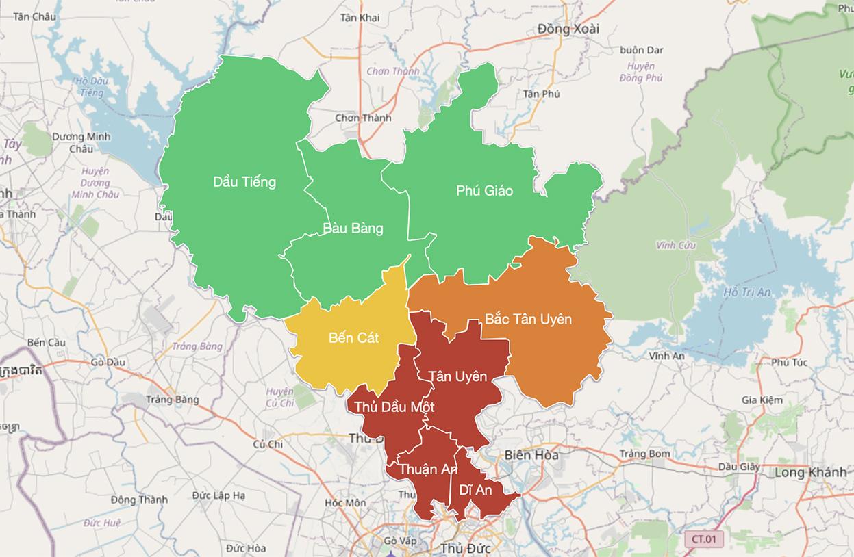 Bản đồ dịch tễ của 9 huyện, thị, thành Bình Dương đến sáng 22/8. Ảnh: Binhduong.gov,vn