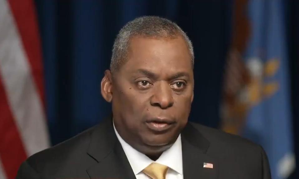 Bộ trưởng Austin trong cuộc phỏng vấn trên truyền hình Mỹ hôm 22/8. Ảnh: ABC News.