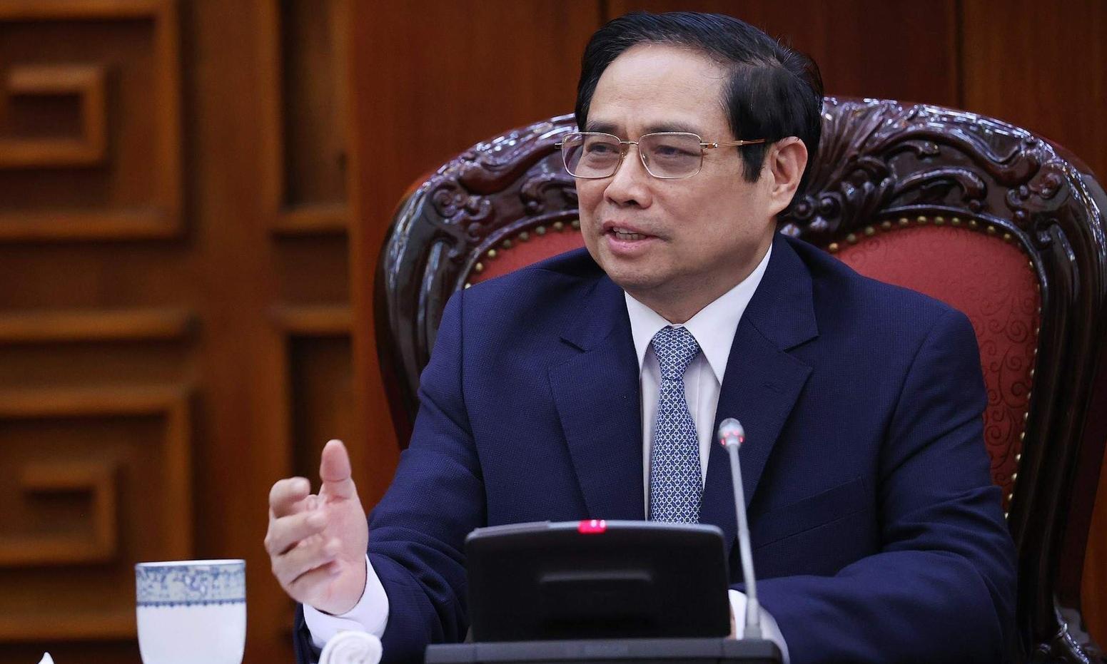 Thủ tướng Phạm Minh Chính tiếp đại sứ Trung Quốc tại Việt Nam Hùng Ba tại Trụ sở Chính phủ hôm nay. Ảnh: BNG.