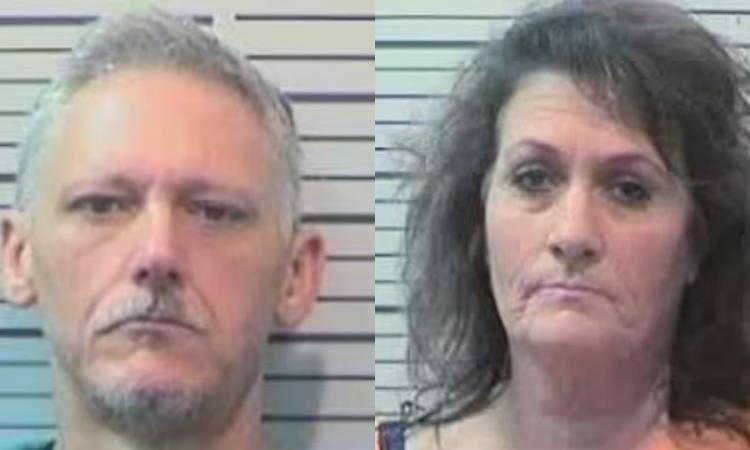 Michael Amacker (trái) và Tracy sau khi bị bắt. Ảnh: Cảnh sát hạt Mobile.