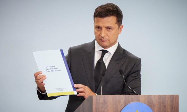 Tổng thống Ukraine Zelenskyy phát biểu tại diễn đàn quốc tế ở Kiev hôm 23/8. Ảnh: Văn phòng báo chí tổng thống Ukraine.