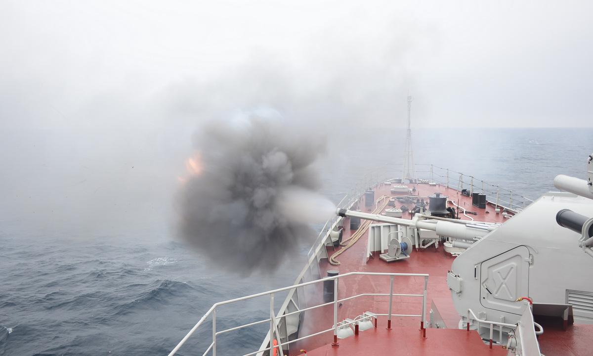 Pháo AK-176MA trên tàu 016 Quang Trung khai hỏa hôm 24/8. Ảnh: QĐND.