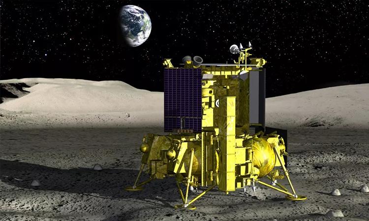 Mô phỏng tàu vũ trụ Nga hạ cánh xuống cực nam của Mặt Trăng. Ảnh: Roscosmos