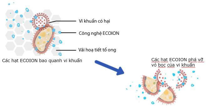 Cơ chế hoạt động của găng tay kháng khuẩn. Ảnh: Nhóm cung cấp