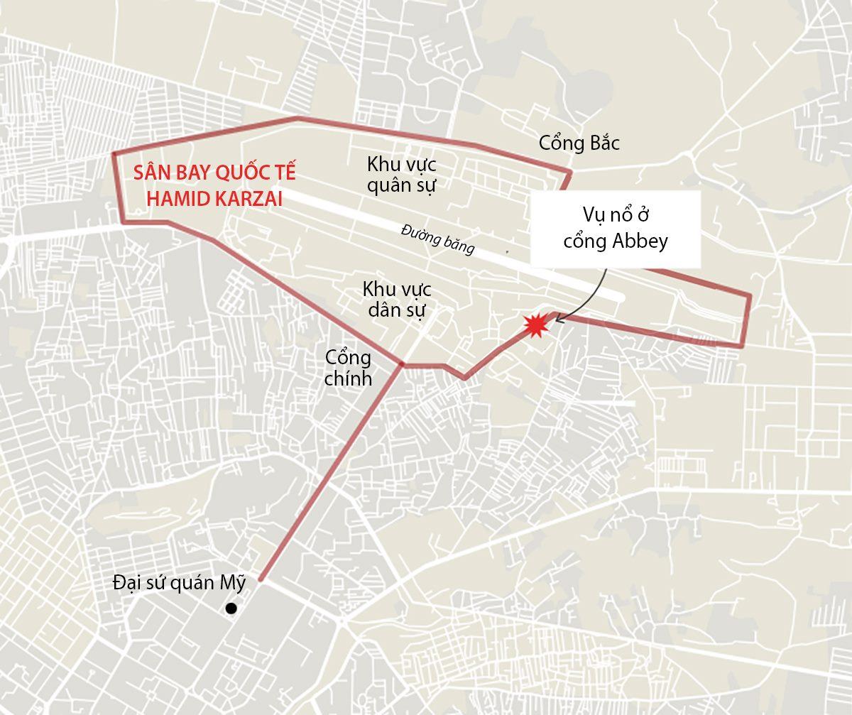 Vị trí vụ đánh bom ở thủ đô Kabul, Afghanistan ngày 26/8. Đồ họa: Business Insider.